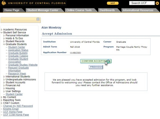 UCF Acceptance